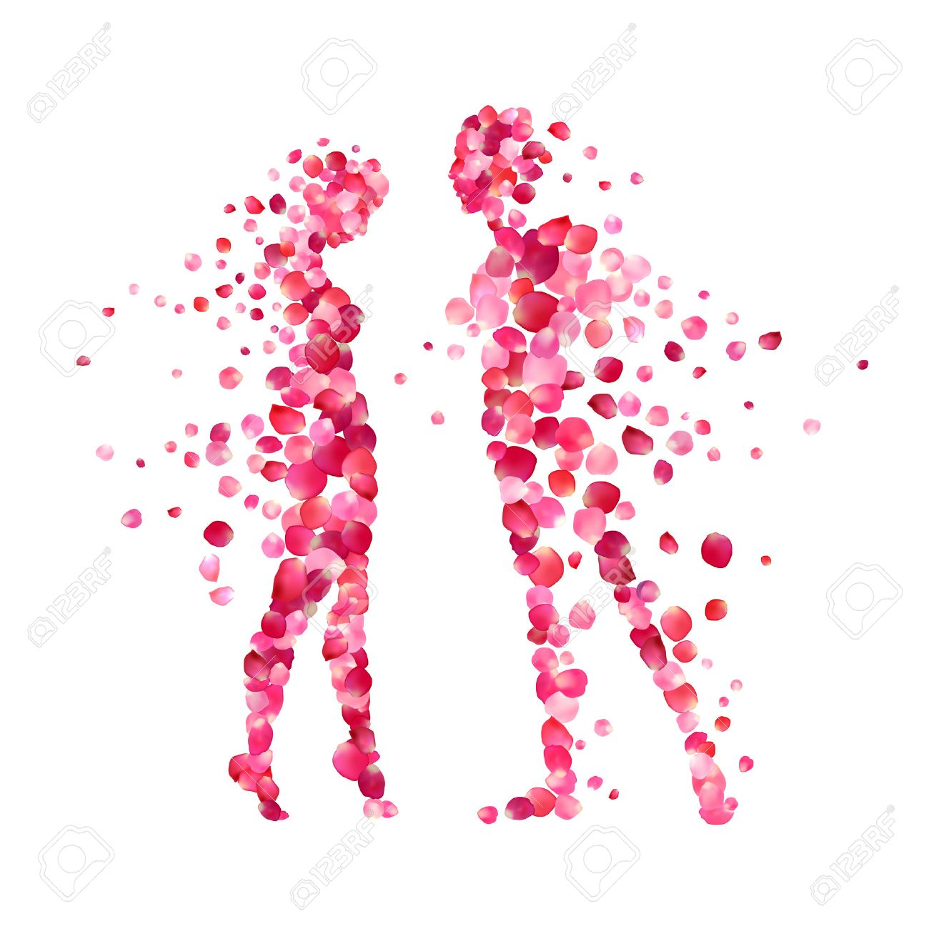 loving couple silhouettes of rose petals. Valentine's Day illustration - 50635259