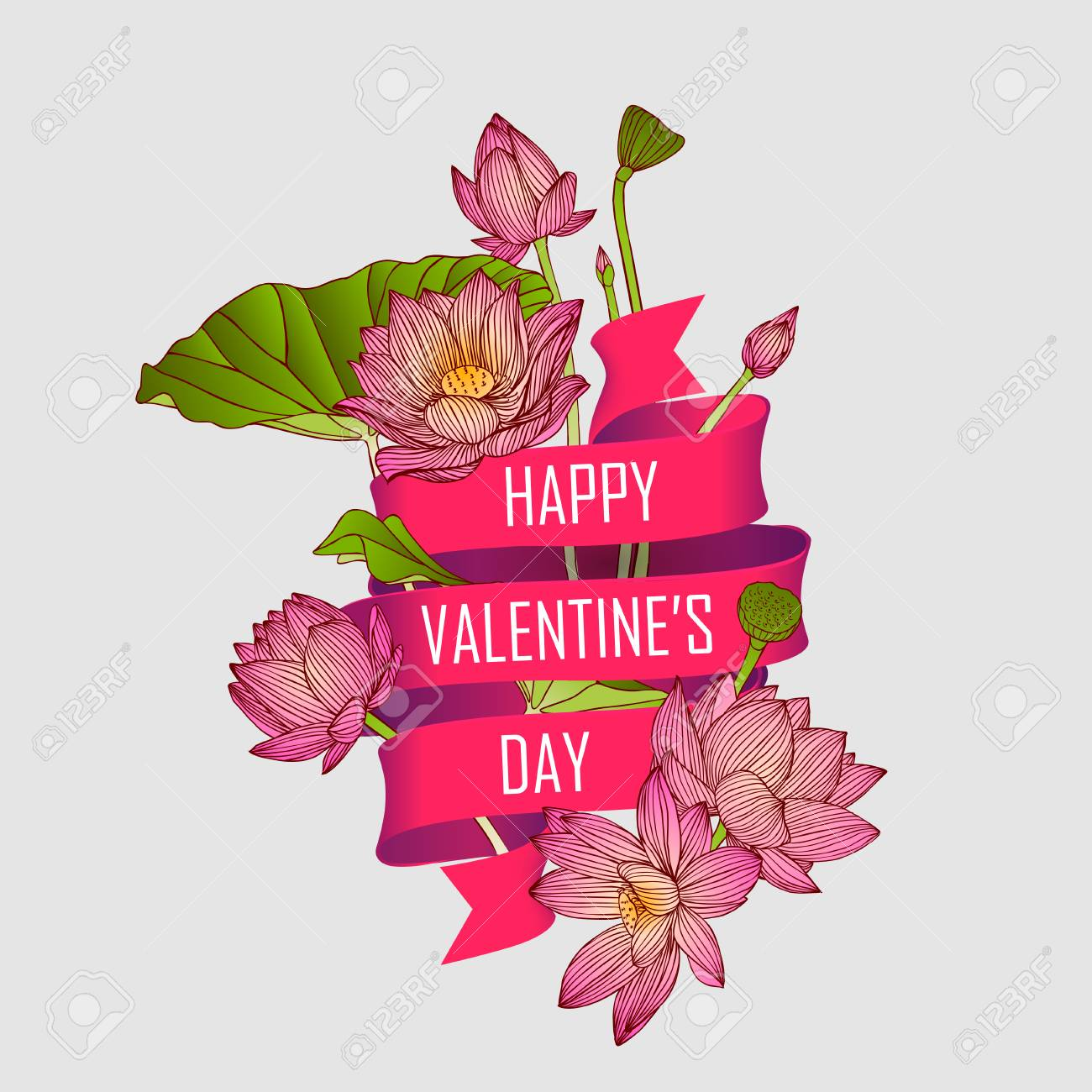 Card With Lotus Flowers And A Ribbon That Says Happy Valentines
