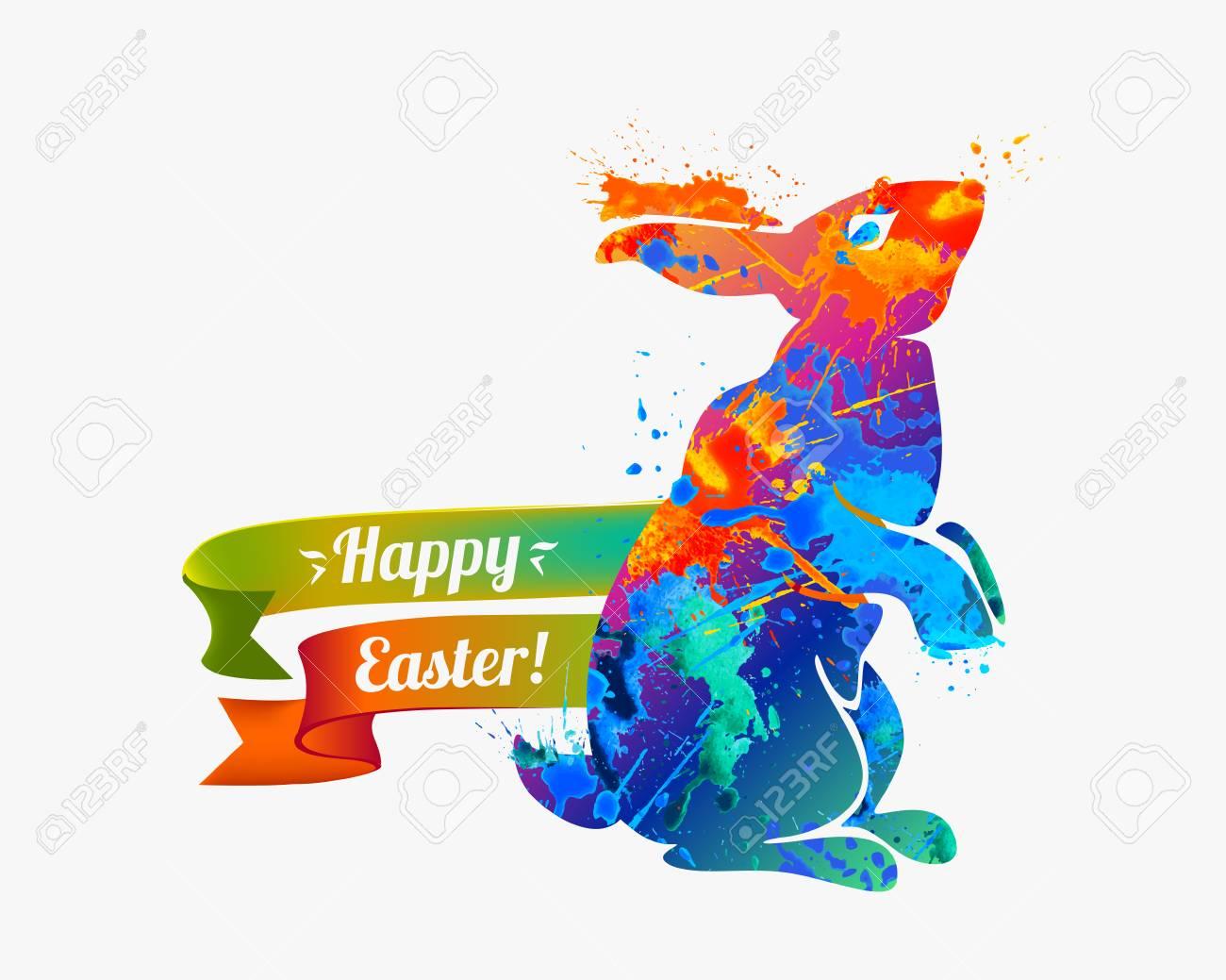 Enhorabuena Vector Tarjeta De Fiesta Cristiana Felices Pascuas Conejo De Pascua
