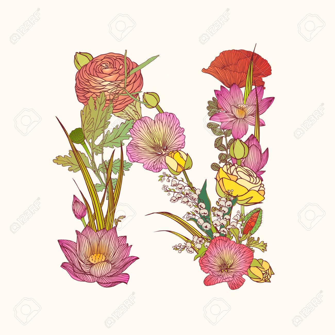 Vector alphabet of flowers. Floral letter N - 53582912