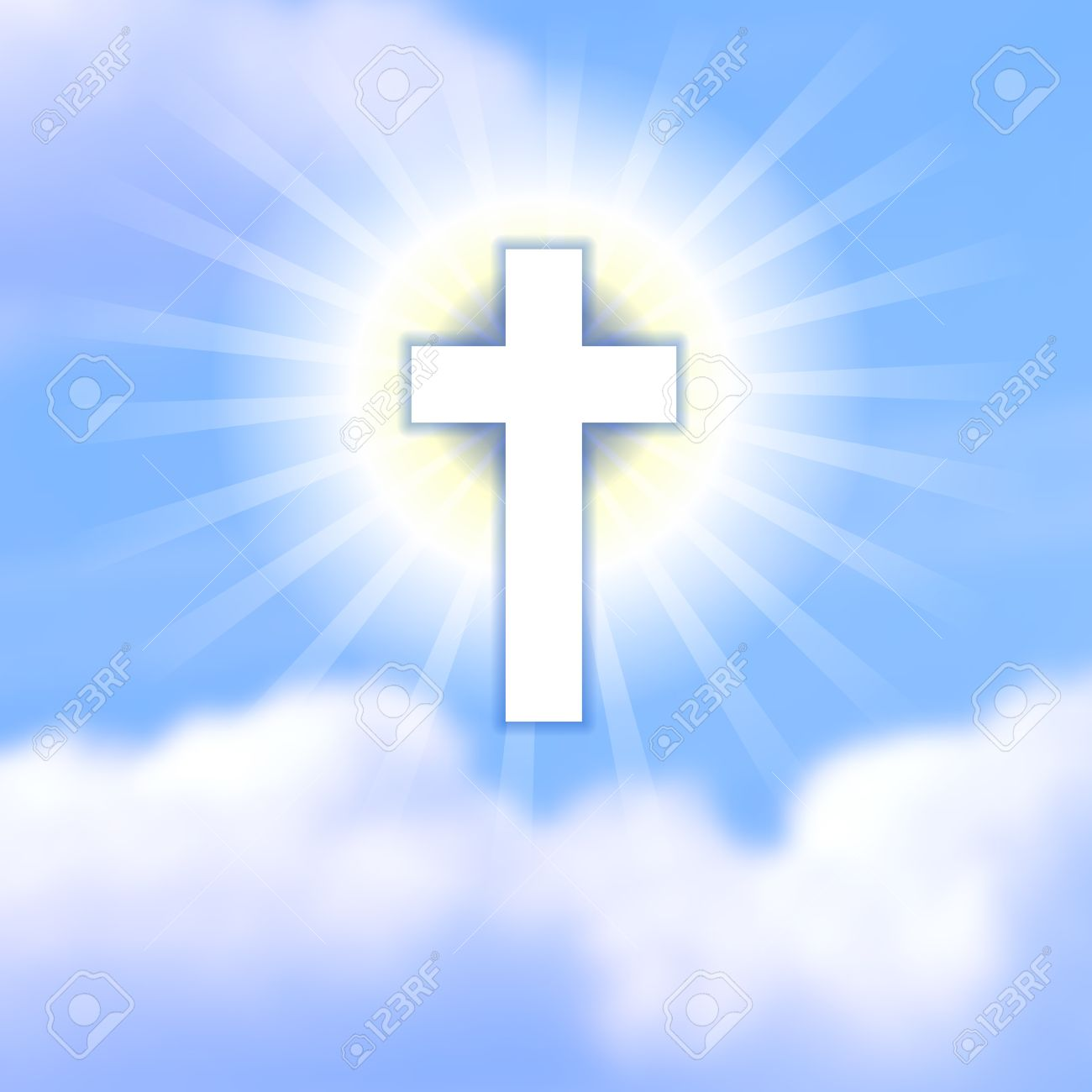 Cross in blue cloudy heaven the symbol of christs resurrection the symbol of christs resurrection happy easter background for buycottarizona Images