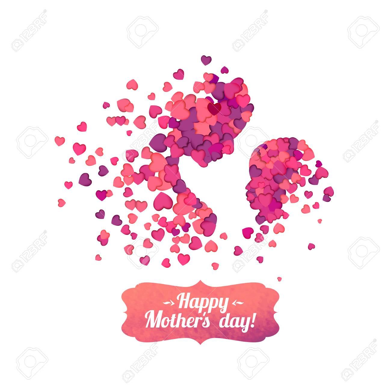 Joyeuse Fête Des Mères! Mère Et Ses Enfants Silhouettes De Coeurs ...