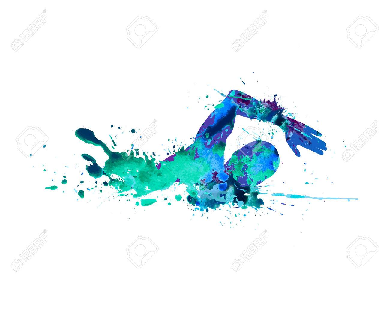 Swimming man. Vector watercolor blue splash paint - 58631195