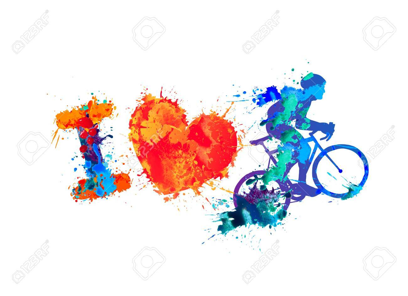 I Love Cycling Watercolor Vector Splash Paint Sign Royalty Free