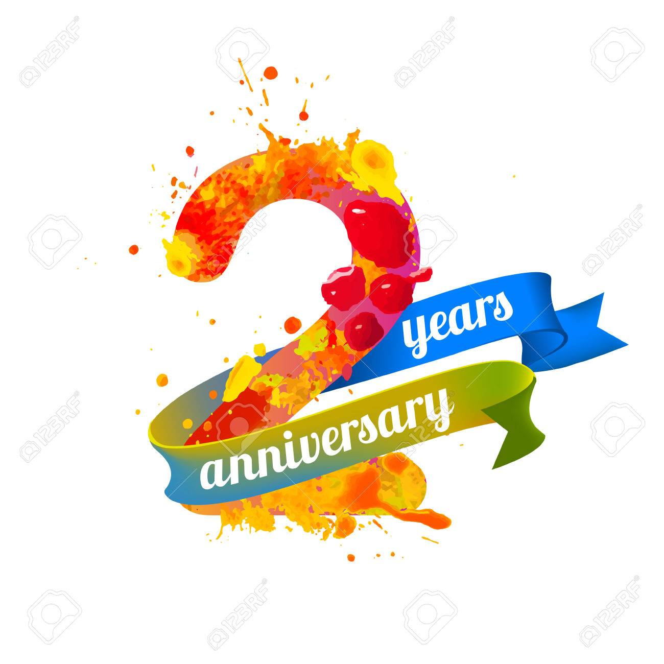 two 2 years anniversary vector watercolor splash paint royalty