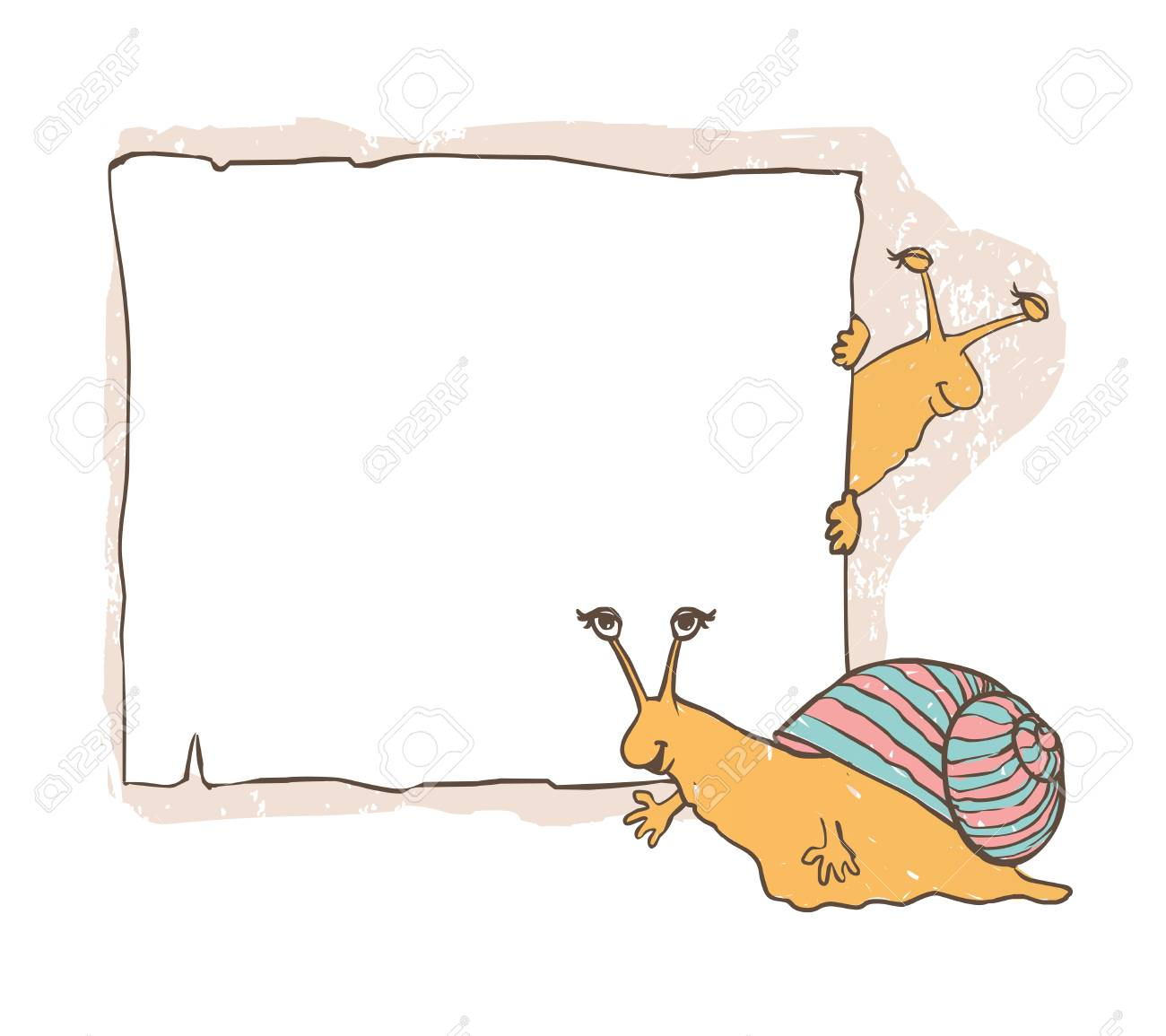 Snail With Frames. Children\'s Vector Cute Background. Royalty Free ...