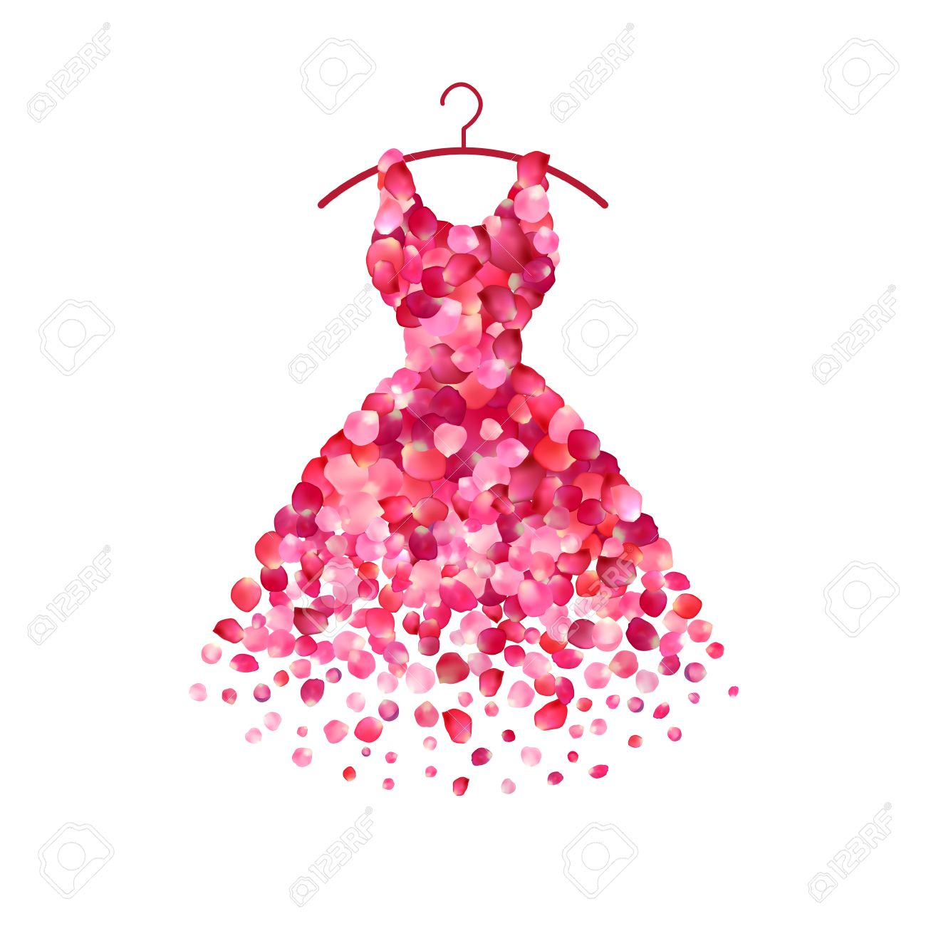 Dress of pink rose petals. Vector icon - 66797801