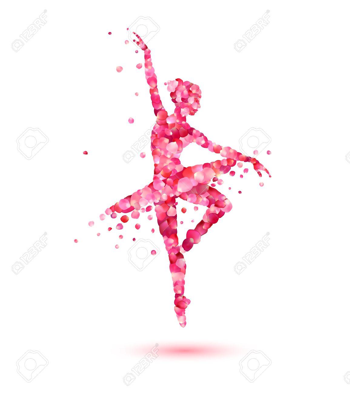 Bailarina De La Silueta Del Vector De Color Rosa Pétalos De Rosa ...