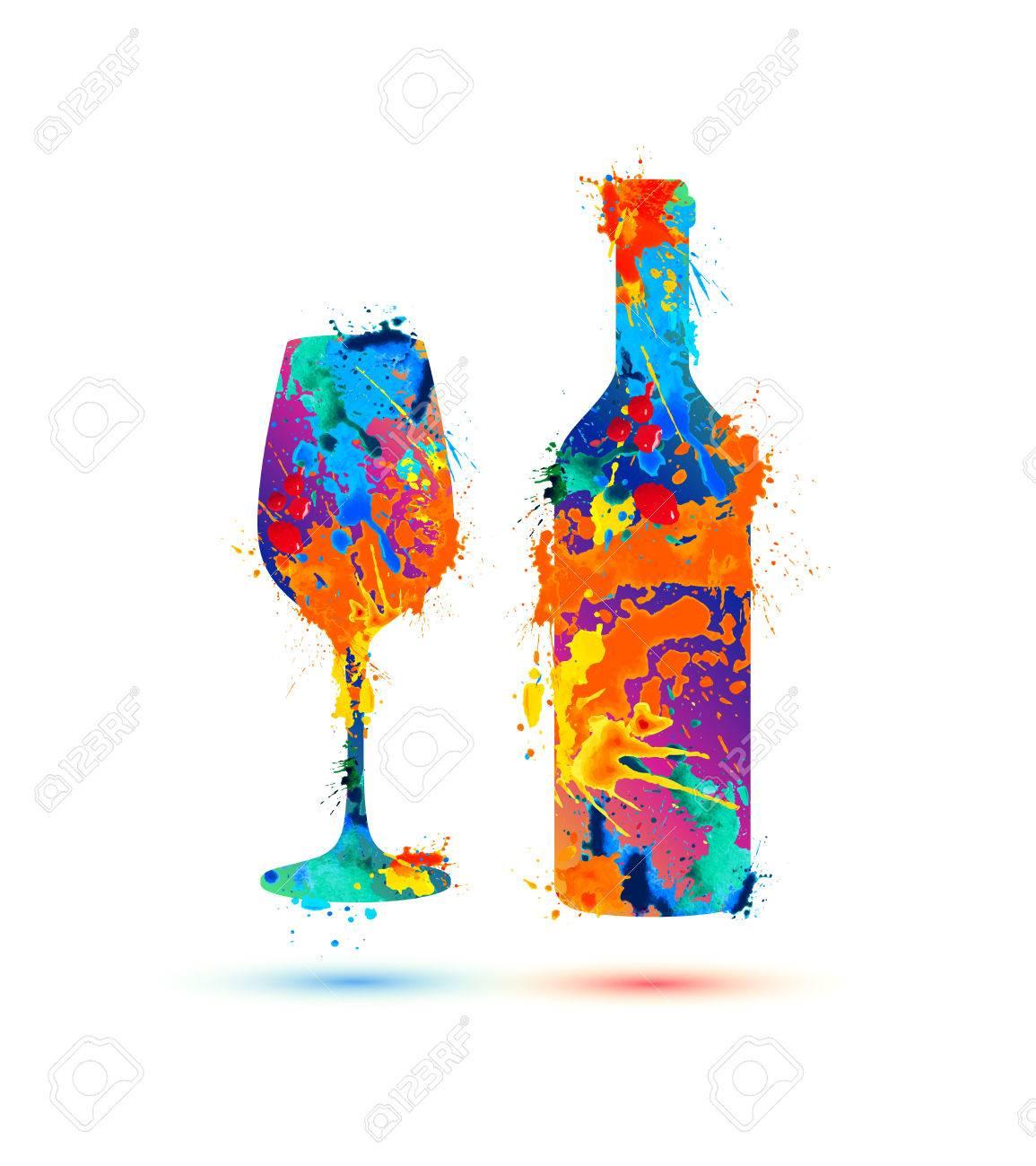 Wine glass and bottle. Vector splash paint - 66060598