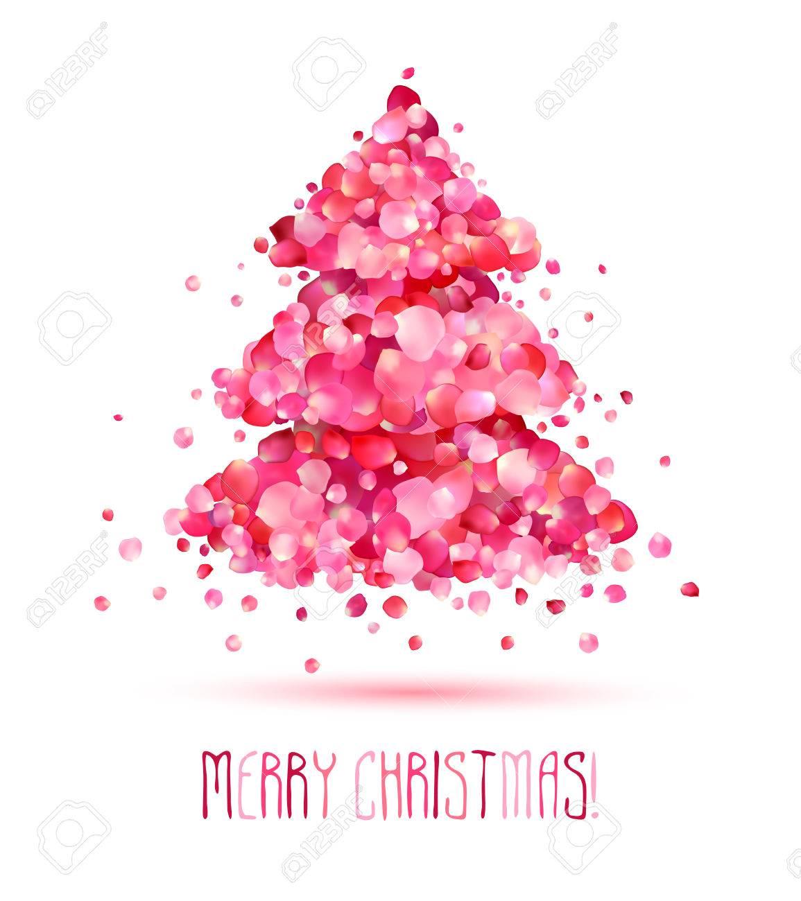Christmas Beauty Salon.Beauty Salon Holiday Congratulation Card Christmas Tree Of Pink