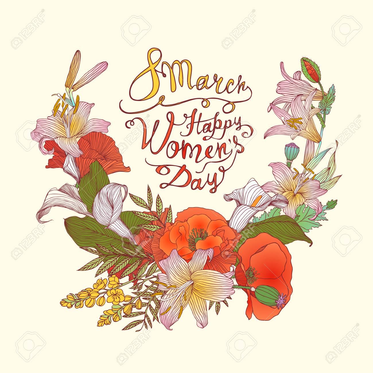 Carte Bonne Fete De La Femme.8 Mars Bonne Fete Femme Vector Congratulation Carte Avec Des Fleurs