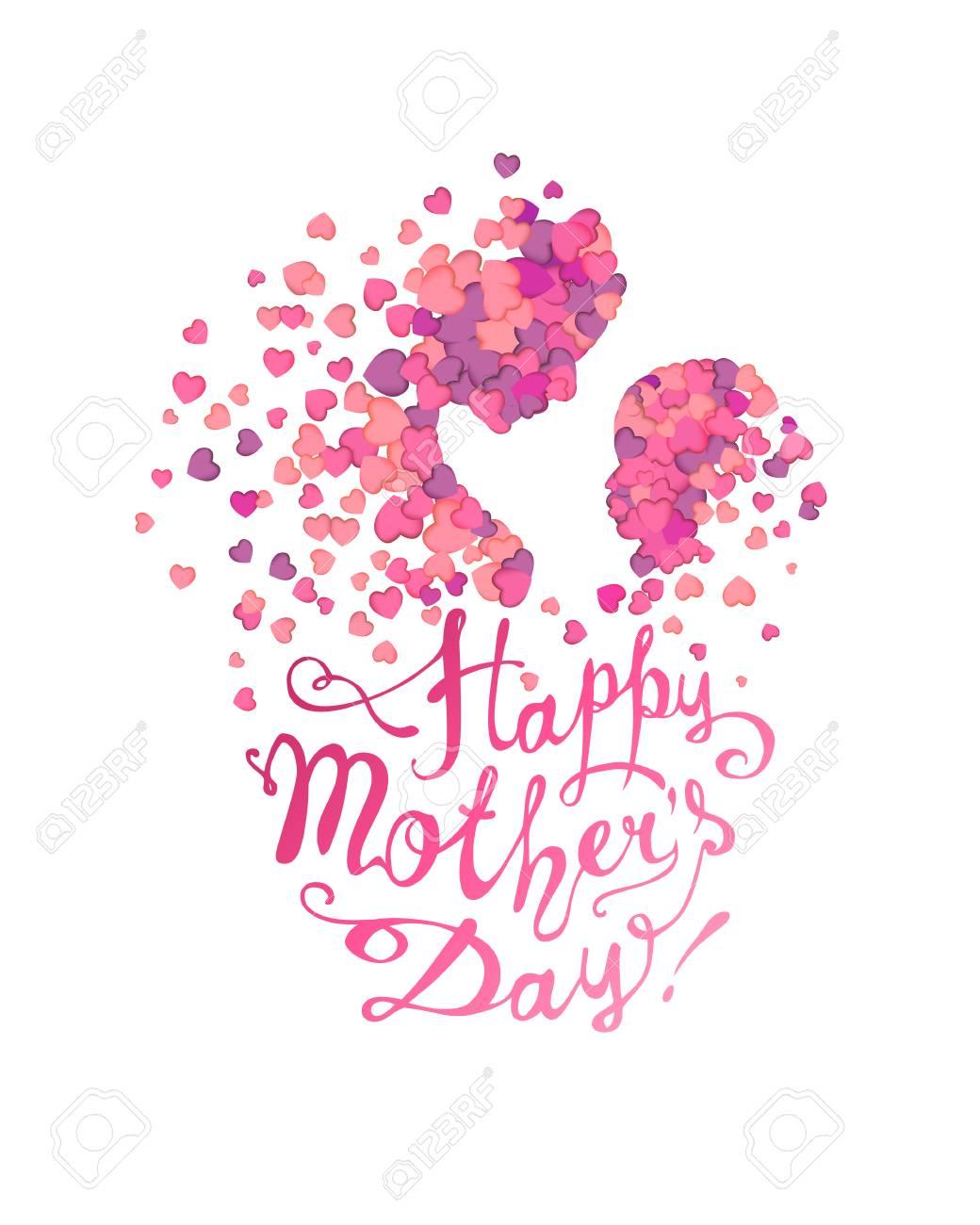 Feliz Día De La Madre Mujer Y Bebé Hecho De Corazones