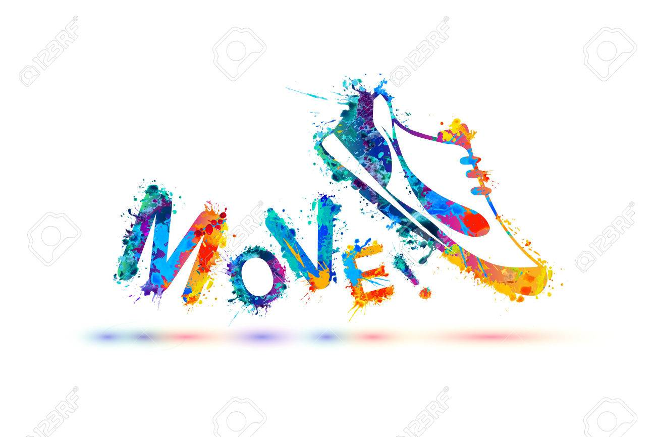 Move! Vector sign. Sport shoe - sneakers. Splash paint - 72917570