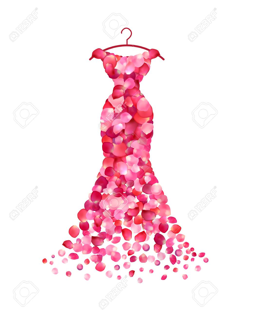 Vestido De Noche De Pétalos De Rosas Rosadas. Vector Ilustraciones ...