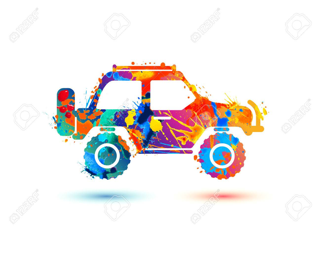 jeep travel splash paint icon on white background royalty free