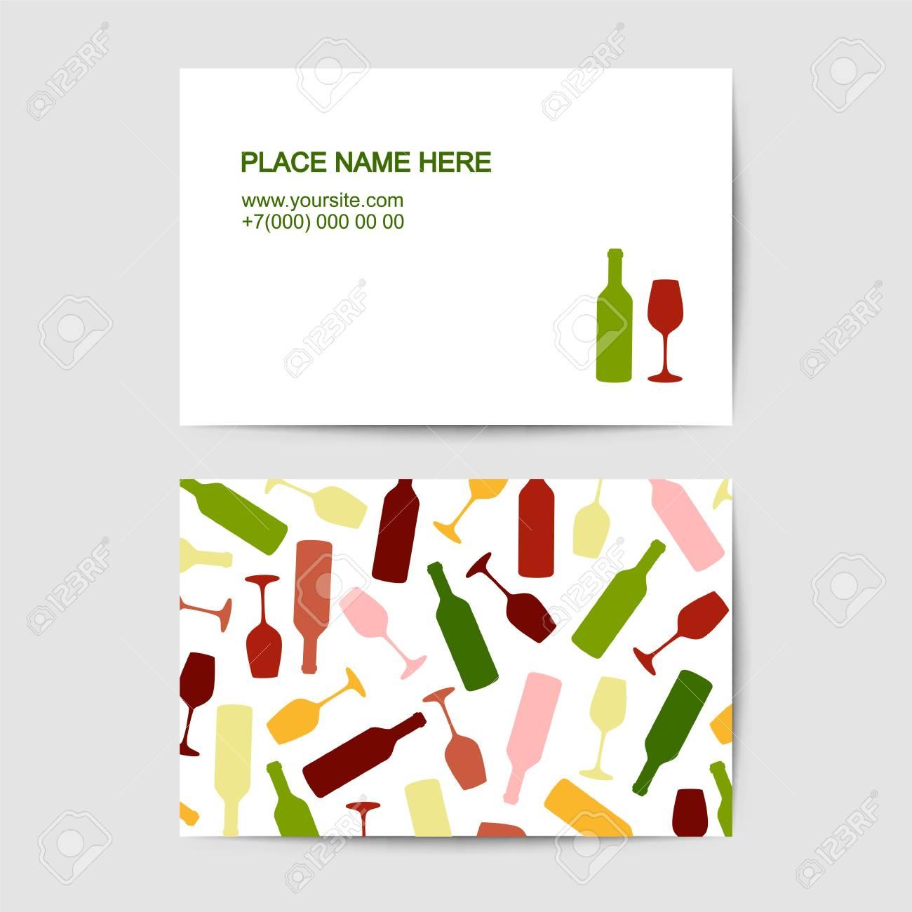 Modle De Carte Visite Avec Verre Vin Et Bouteille Pour