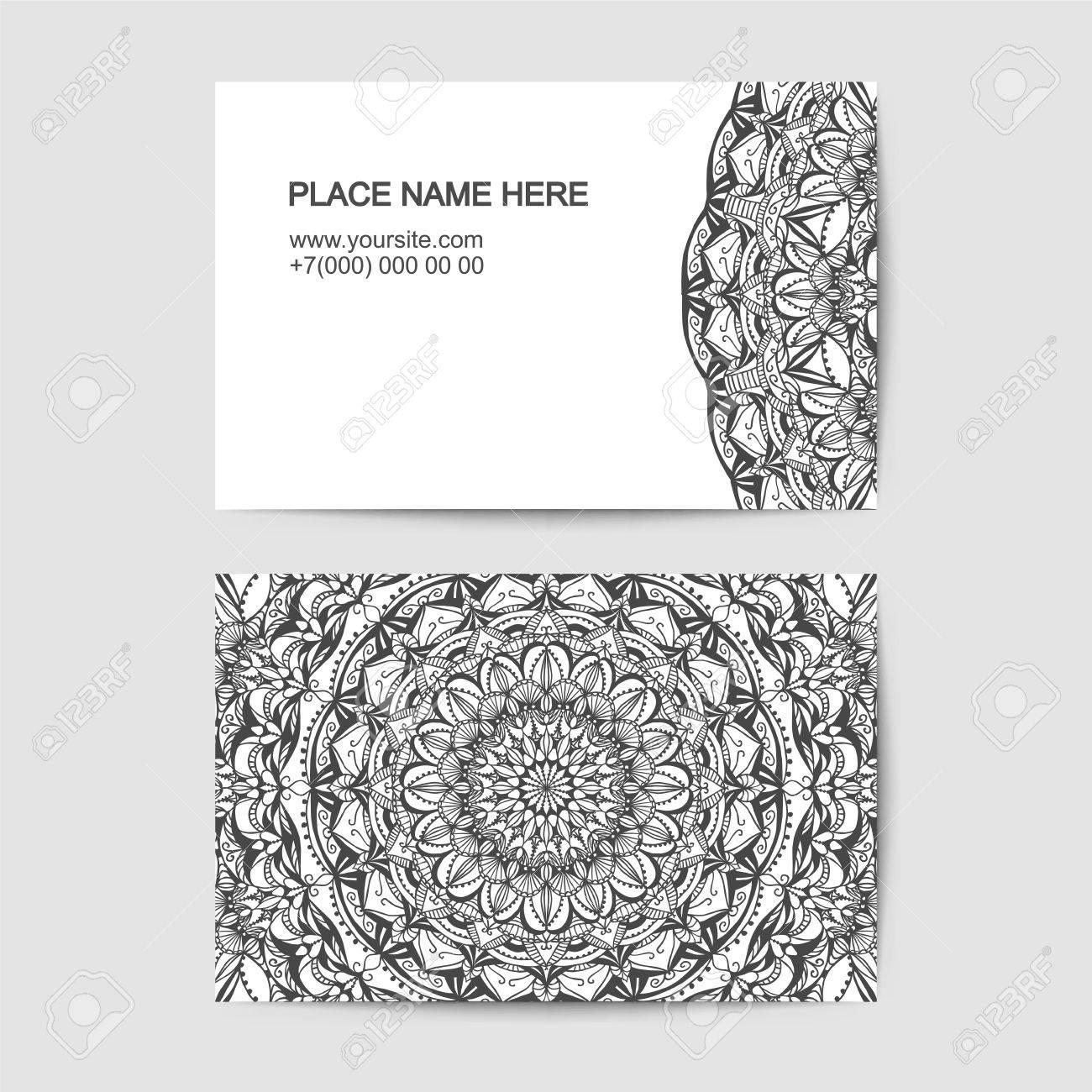 Modle De Carte Visite Avec Motif Dentelle Noir Et Blanc Clip