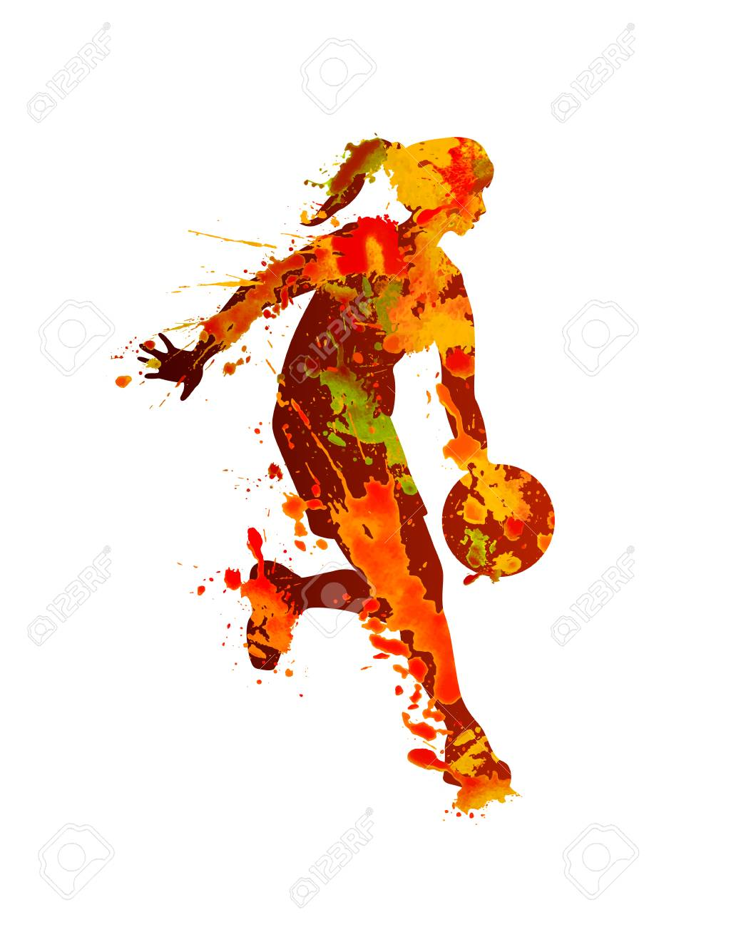 Woman basketball player. Splash watercolor paint on a white background - 86965226