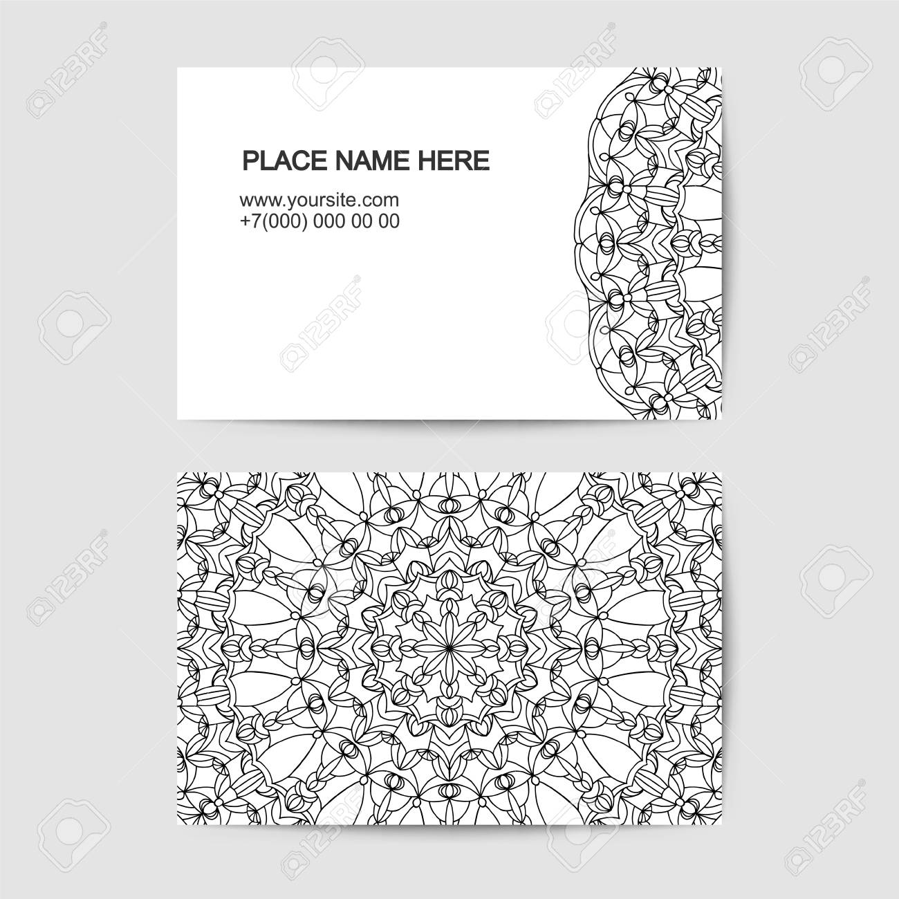 Visit Card Vector Template With Lace Vector Pattern Royalty Free ...