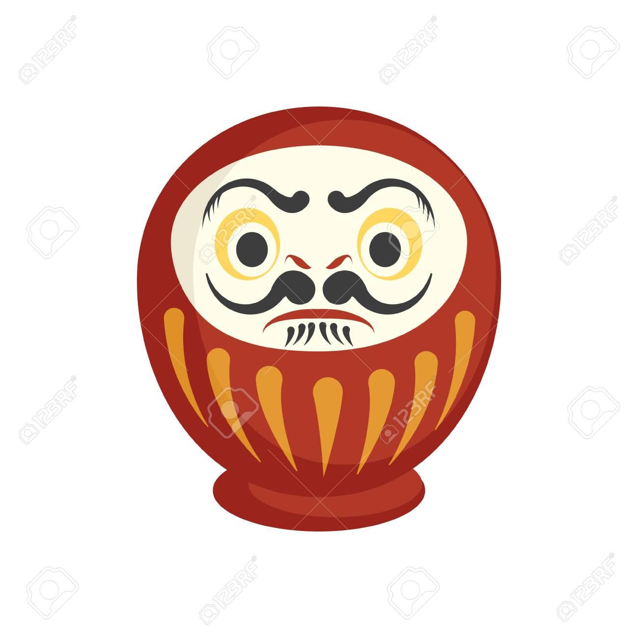 Traditional japanese Daruma doll with both eyes  Flat vector