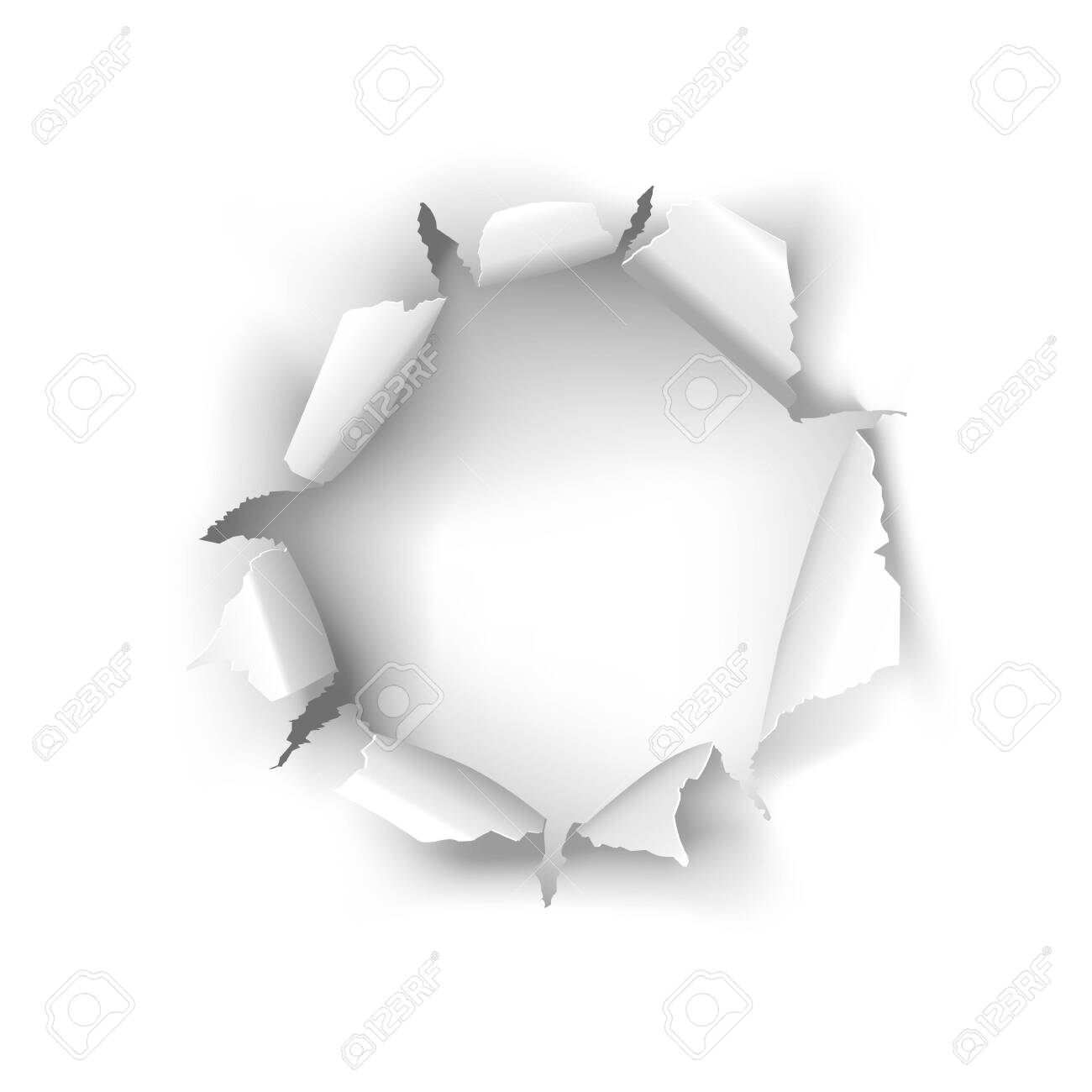 Vector torn white paper hole on a white background - 147550149