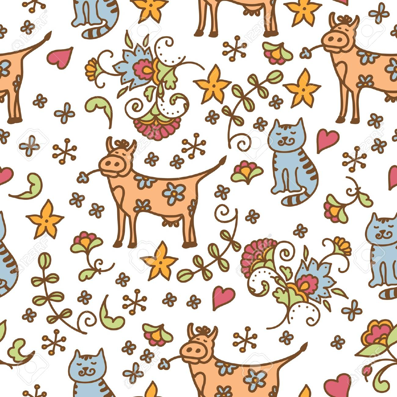 seamless flowers pattern with cat and cow Stock Vector - 15848228