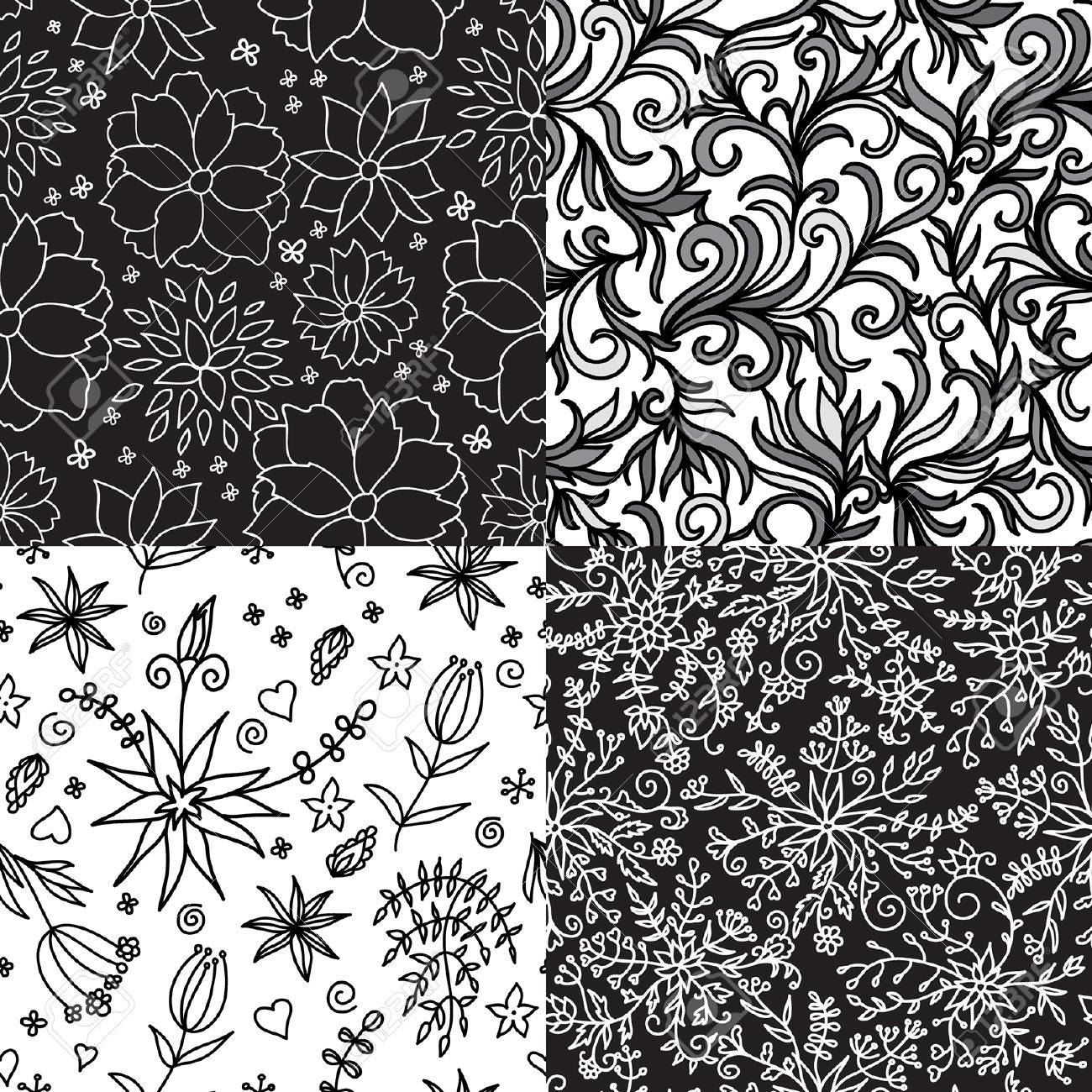 Hand Drawn Vector Flowers Patterns Set Seamless Floral Backgrounds