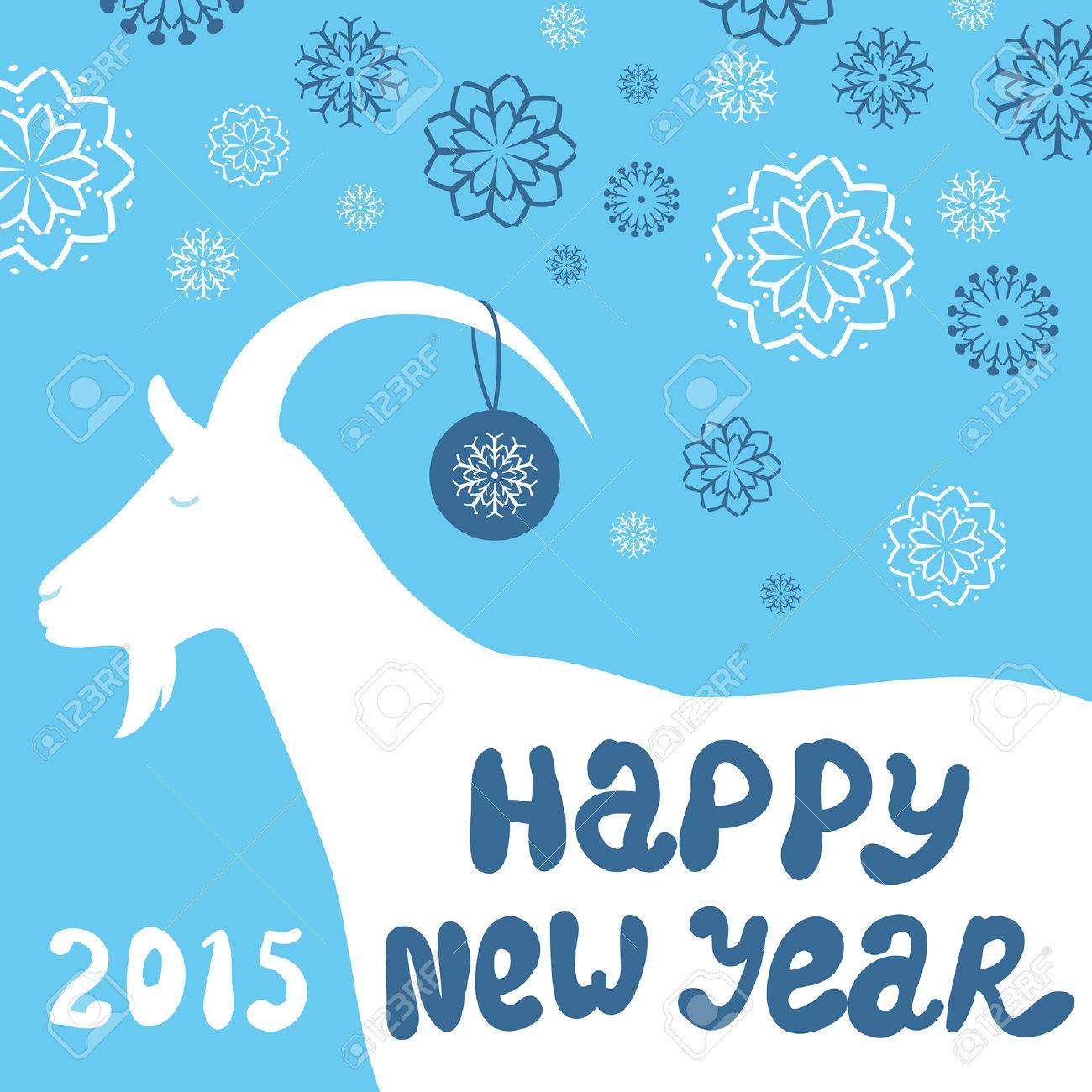 greeting card with a goat happy new year and merry christmas vector background