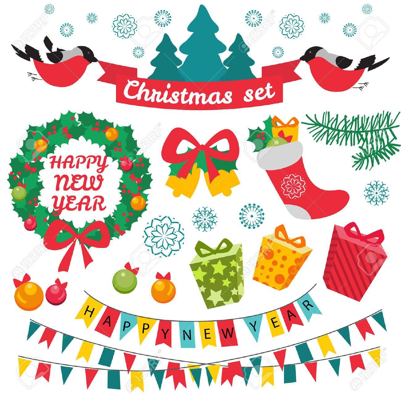 Immagini Di Natale Colorate.Set Di Caratteri Di Natale Colorate E Decorazioni Stile Retro Vintage Vector Background