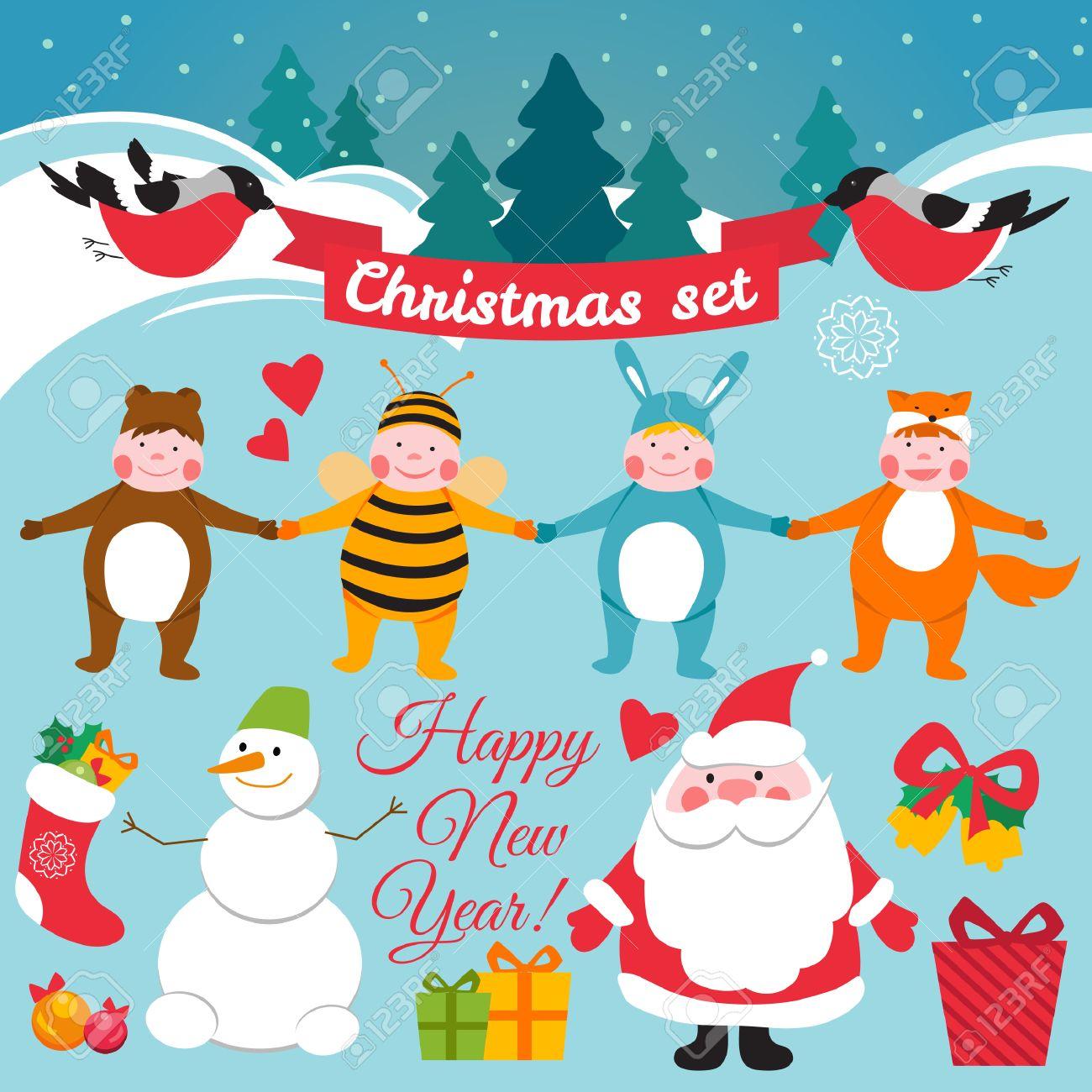 Immagini Di Natale Per Bambini Colorate.Set Di Caratteri Di Natale Colorate E Decorazioni Costumi Di Natale Per Bambini Stile Retro Vintage Vector Background