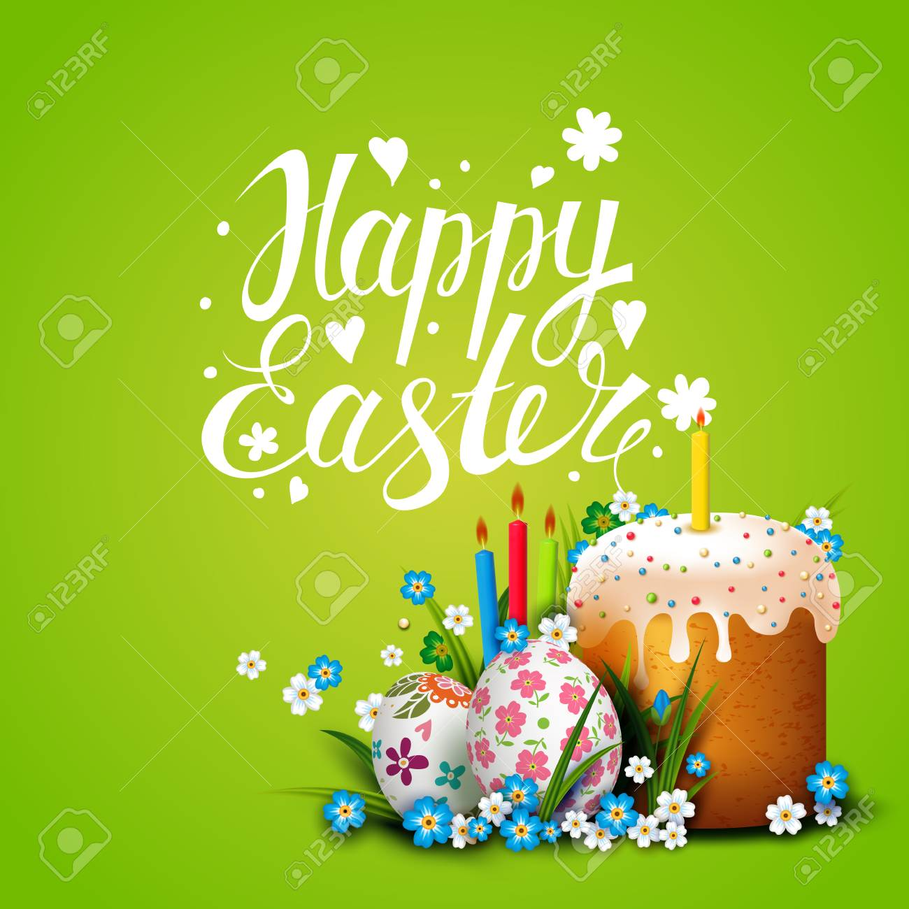 easter card template with easter eggs flowers and easter cake