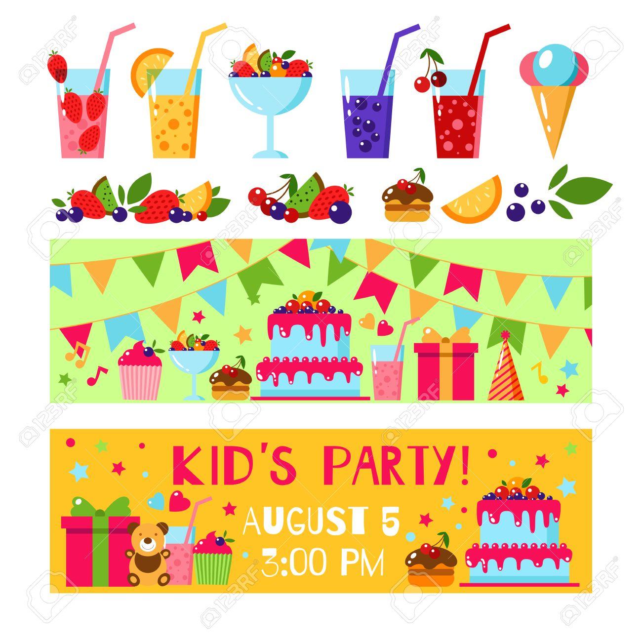 Alles Gute Zum Geburtstag Einladungskarte. Flache Vektor Kinder Einladung.  Kinder Party Und Kindergeburtstags