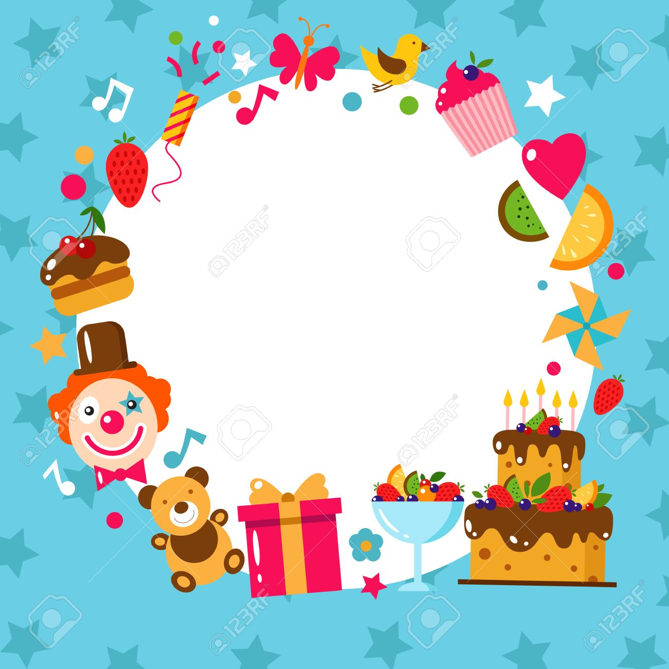 Happy birthday card flat vector illustration kids party and happy birthday card flat vector illustration kids party and celebration design elements cake bookmarktalkfo