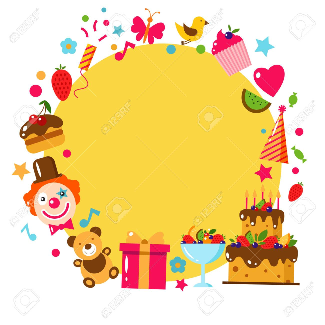 Happy Birthday Card Flat Vector Illustration Kids Party And – Happy Birthday Kids Cards