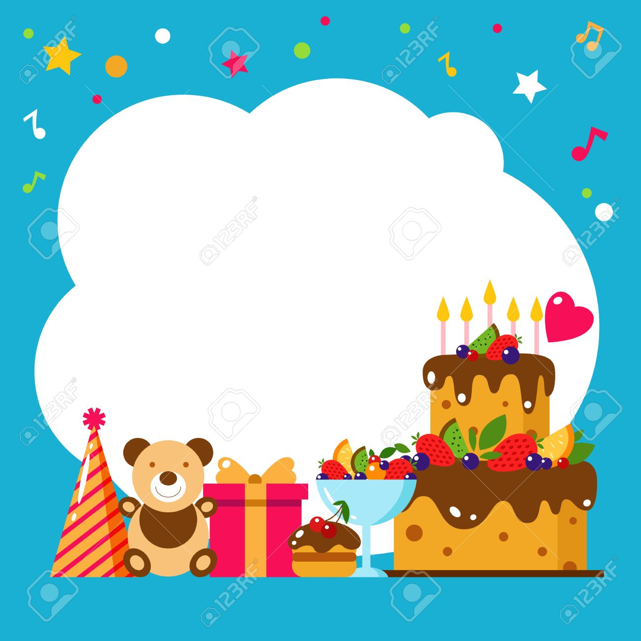 Happy birthday card flat vector illustration kids party design happy birthday card flat vector illustration kids party design elements cake gift bookmarktalkfo