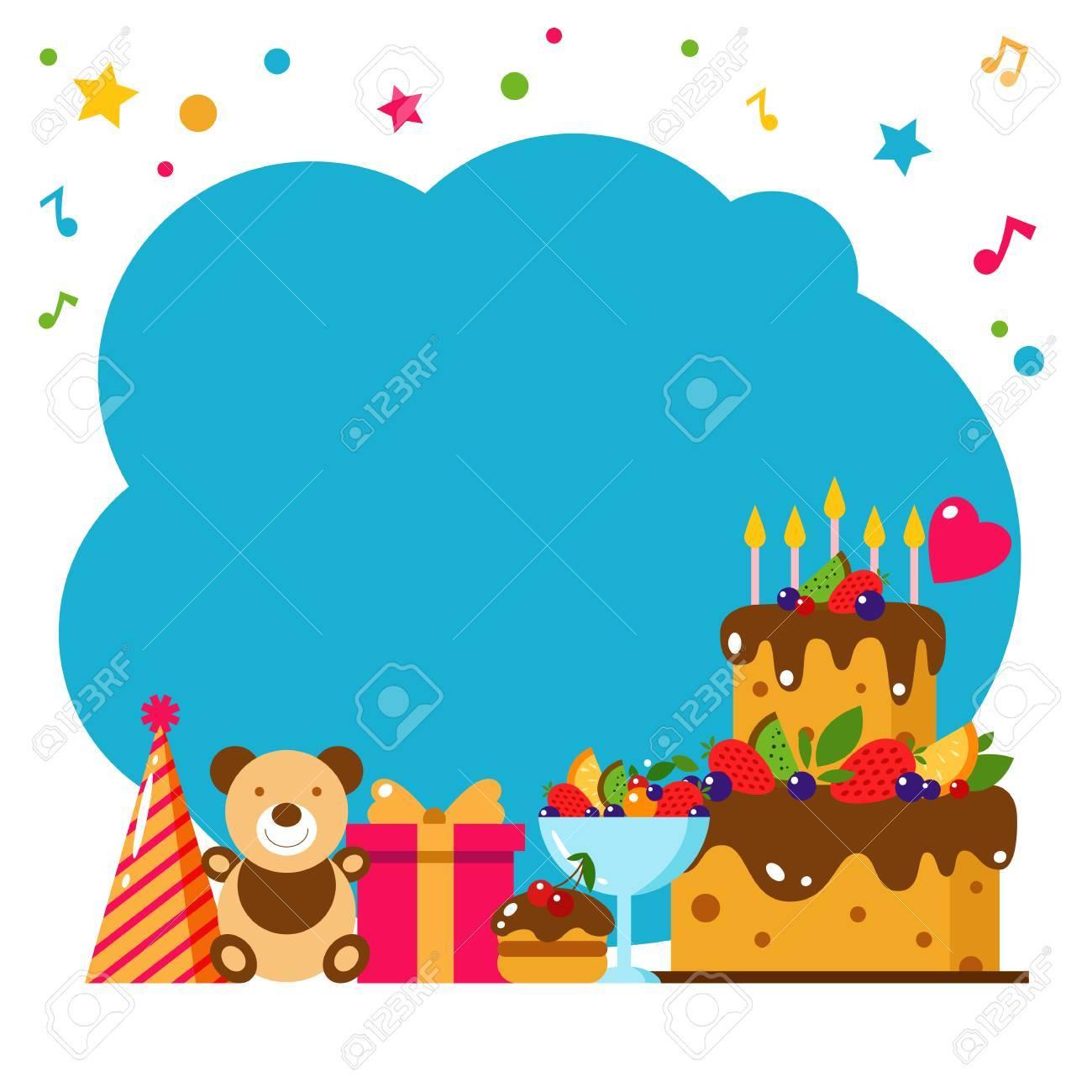 Happy Birthday Card Flat Vector Illustration Kids Party Design