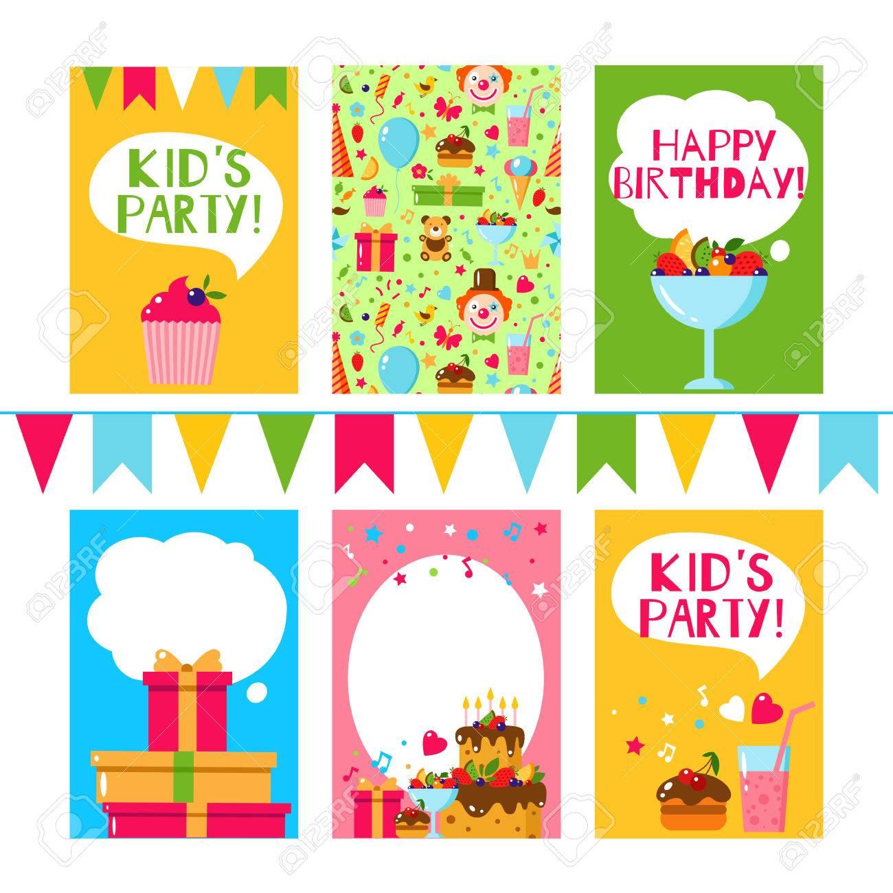 Feliz Cumpleaños Tarjeta De Invitación Invitación Plana De Los Niños Del Vector Fiesta De Los Niños Y Los Niños Del Cumpleaños Invitación Torta