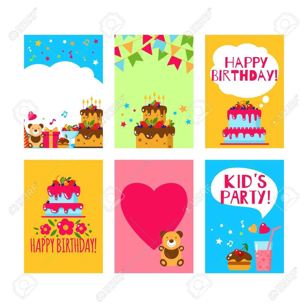 Happy birthday invitation card flat vector kids invitation kids happy birthday invitation card flat vector kids invitation kids party and kids birthday invitation stopboris Images