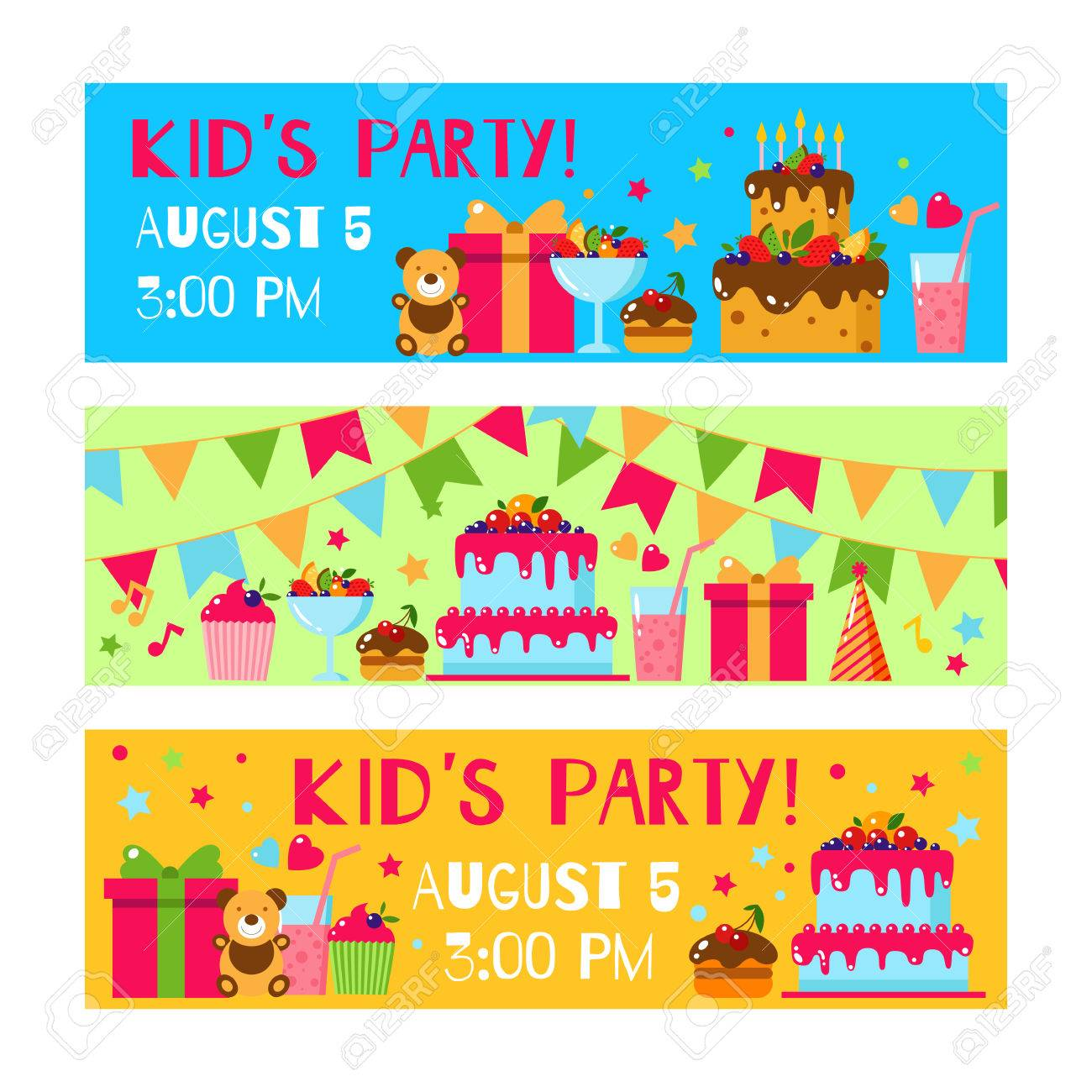 Happy birthday invitation card flat vector kids invitation happy birthday invitation card flat vector kids invitation kids party and kids birthday invitation stopboris Images