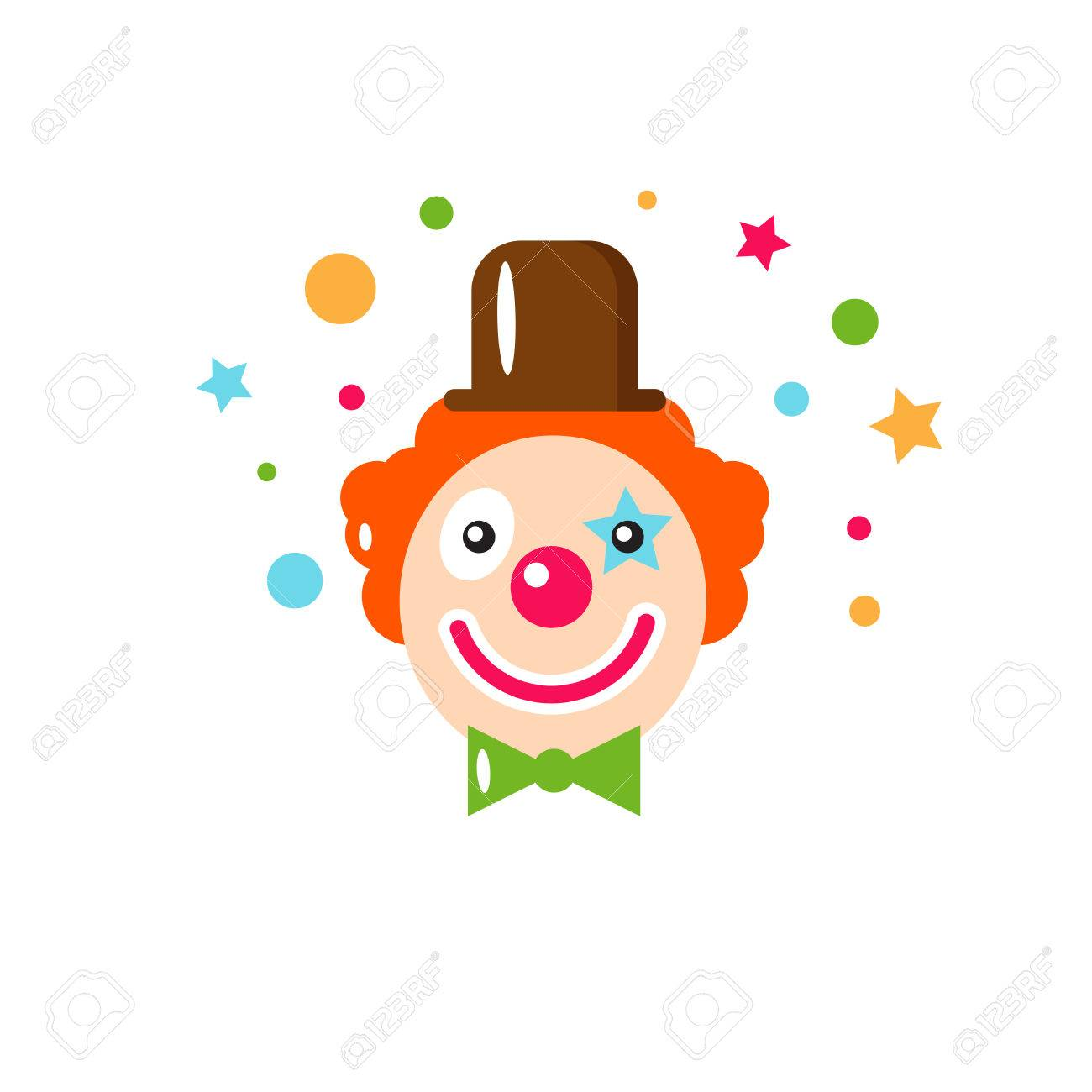 Vector flat holiday background clown smile happy birthday vector flat holiday background clown smile happy birthday card kids party and bookmarktalkfo Gallery