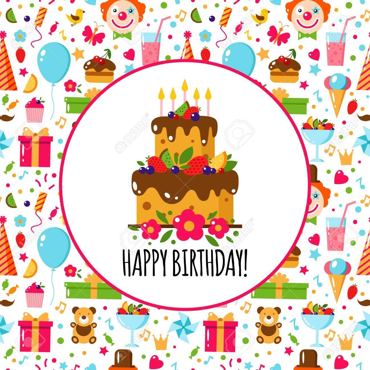 Vector Flat Birthday Card On The Seamless Birthday Pattern Happy