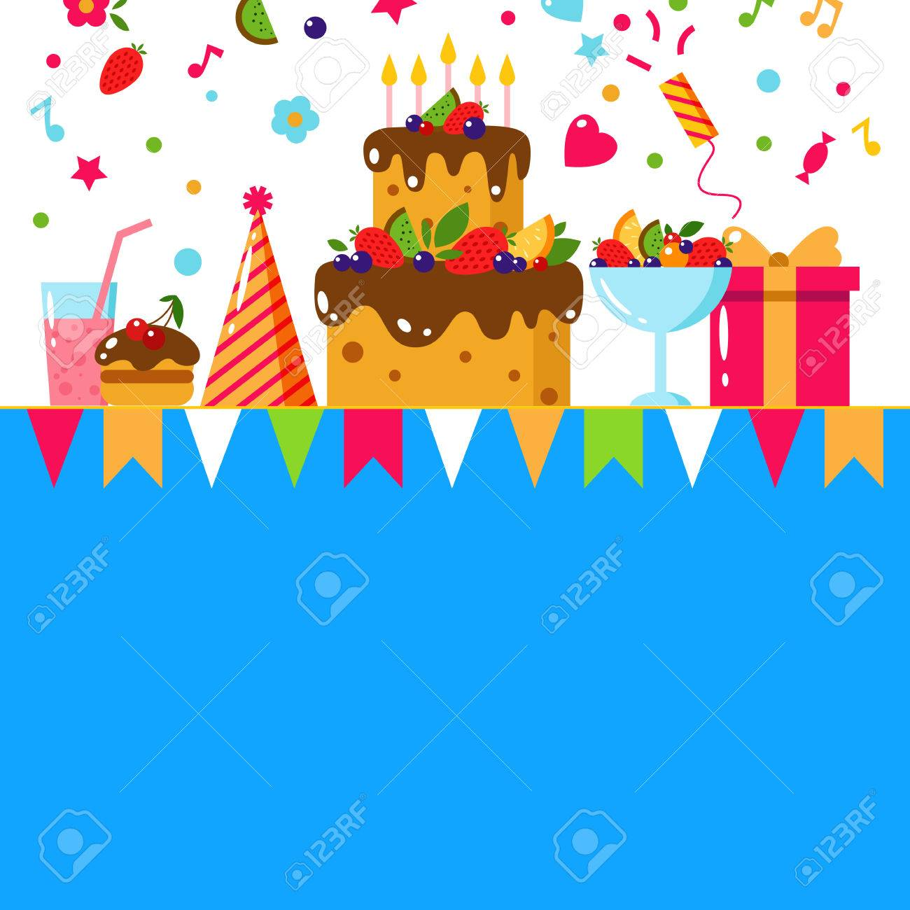 Happy Birthday Card Flat Vector Illustration Kids Party And Celebration Design Elements Cake