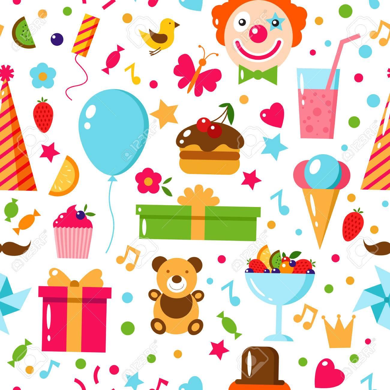 Patrón Sin Fisuras De Cumpleaños. Feliz Cumpleaños, Ilustración ...