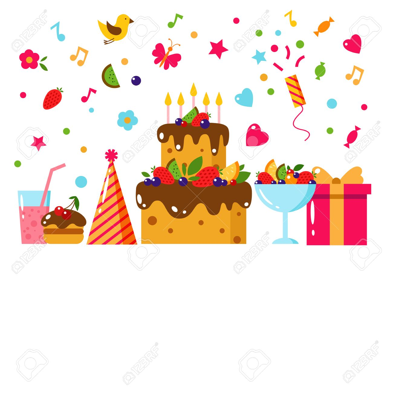 Happy birthday template card flat vector illustration kids party happy birthday template card flat vector illustration kids party and celebration design elements bookmarktalkfo Choice Image