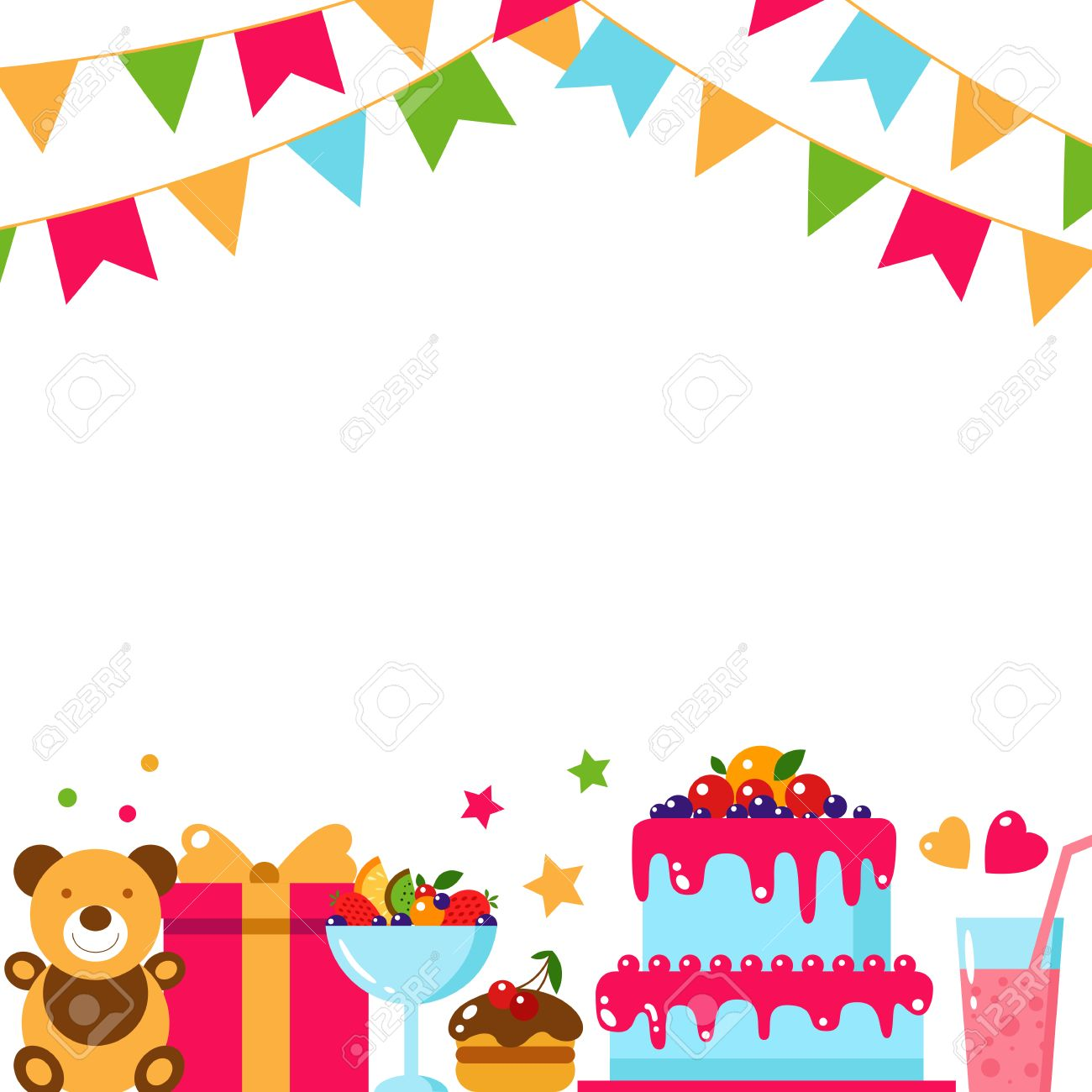 happy birthday template card flat vector illustration kids