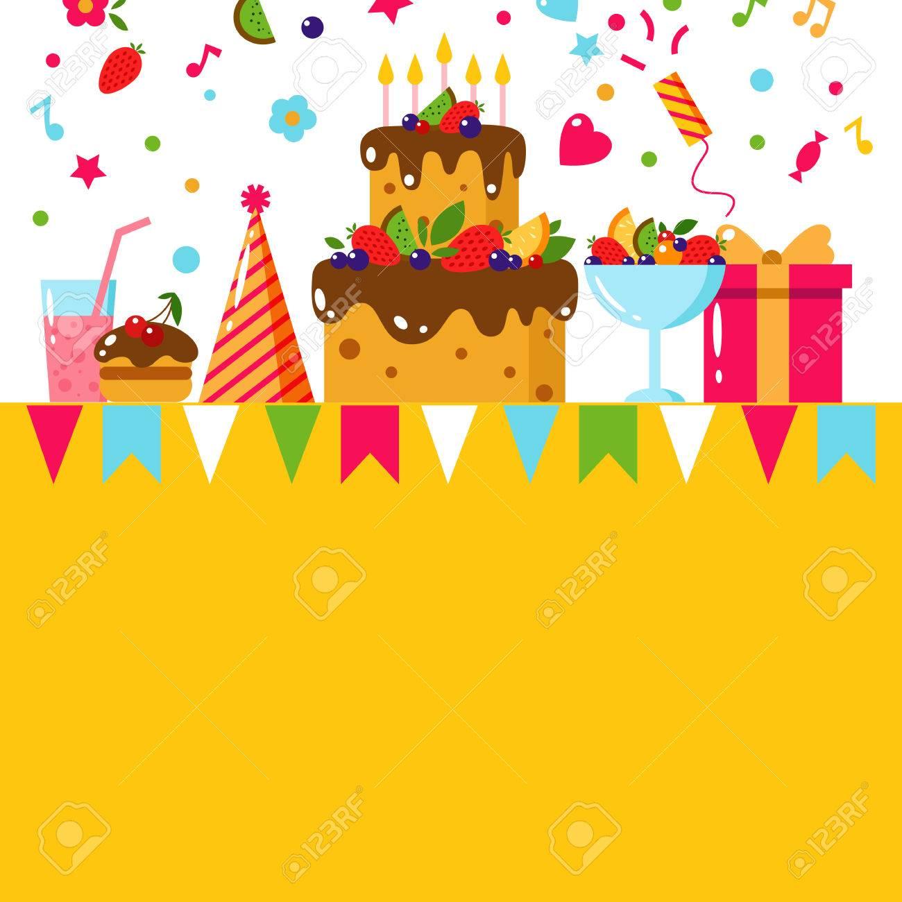 Tarjeta Del Feliz Cumpleaños De La Plantilla. Ilustración Vectorial ...