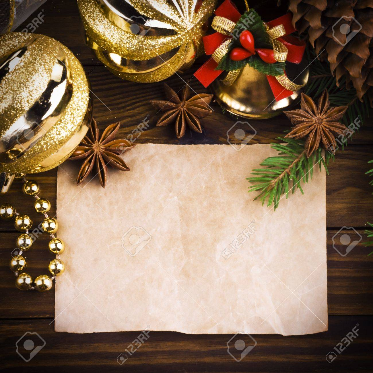 Christmas decoration over old wood background - 16622643