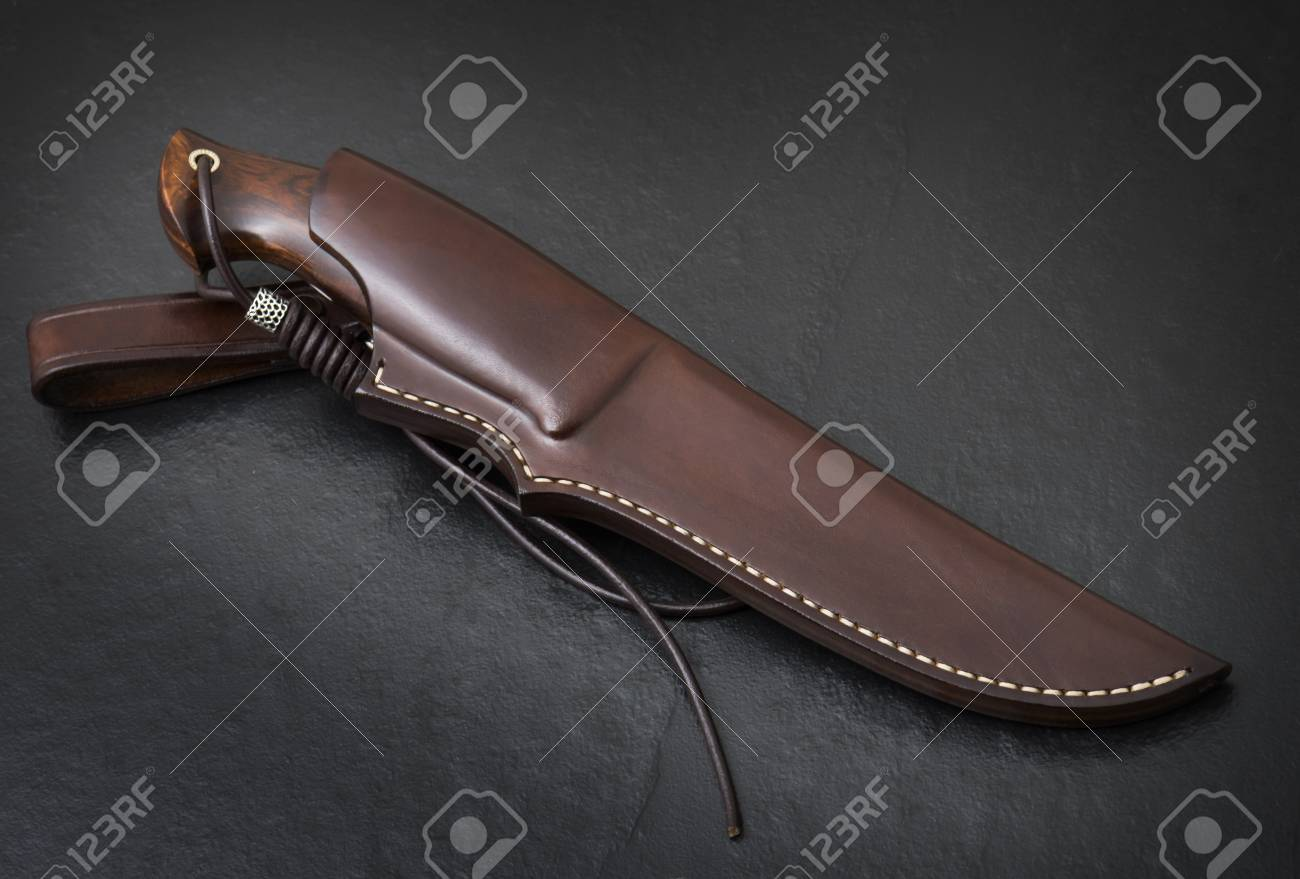 Hunting Knife Handmade On A Black Background Leather Sheath Stock Photo Picture And Royalty Free Image Image 110754609