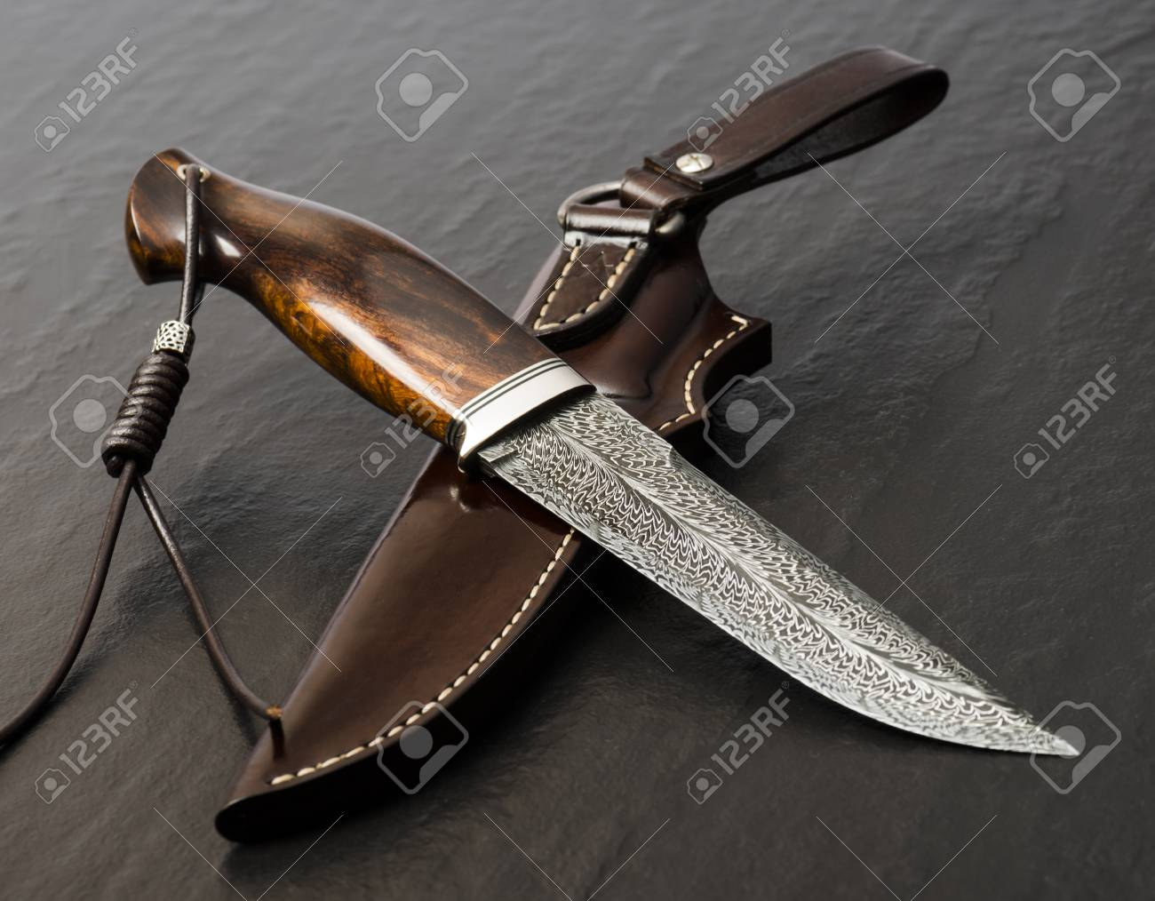 Hunting Knife Handmade On A Black Background Leather Sheath Stock Photo Picture And Royalty Free Image Image 122660808