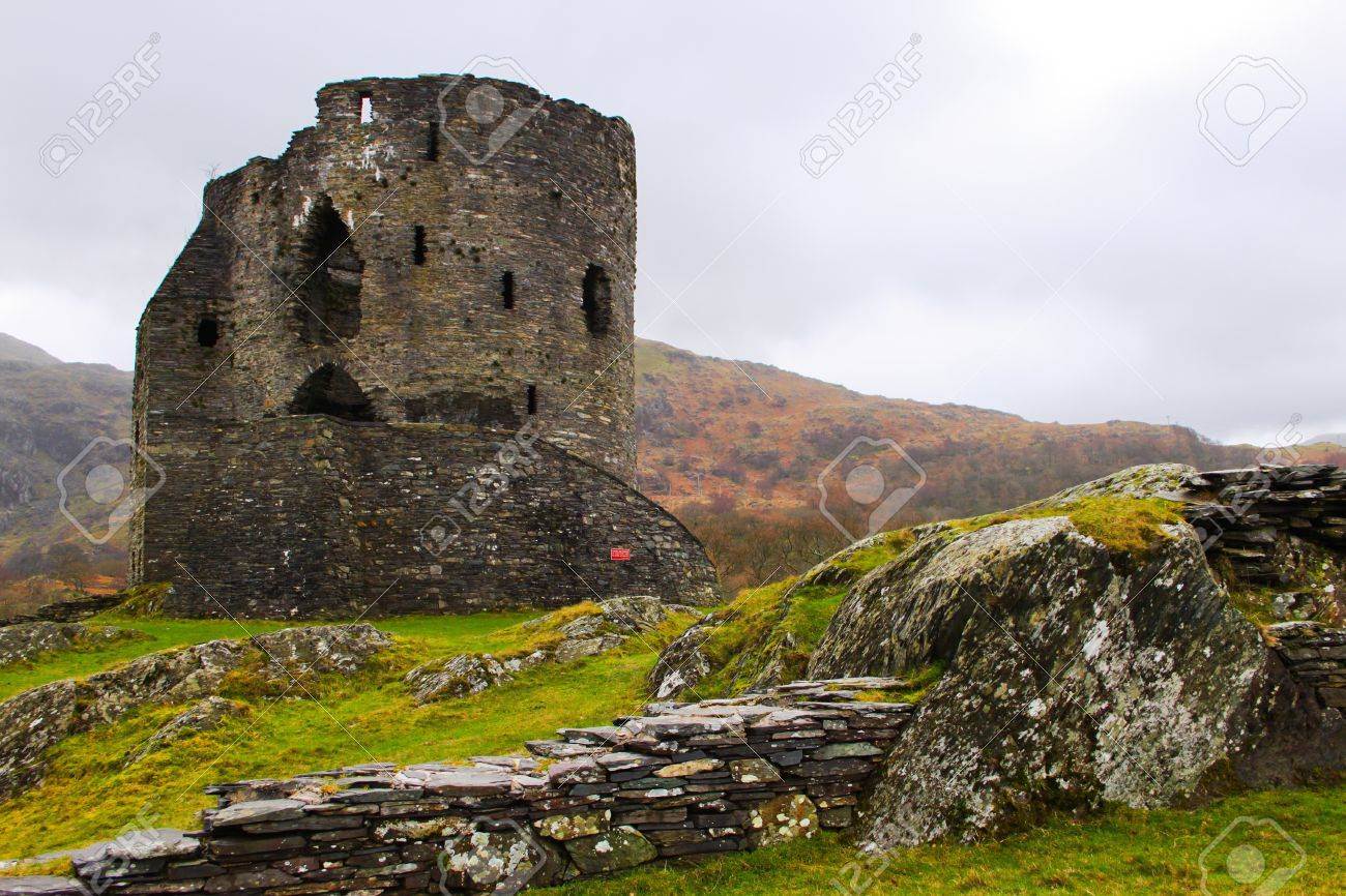 The ruins of Doldadarn Castle at Llanberis in the heart of the Snowdonian Mountain Range North Wales Stock Photo - 16532569